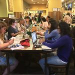 Picture of participants at one of many of the SCBWI NY Metro write and sketch nights